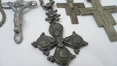 Estate Antique Russian  Catholic Pewter Hinged Old Ethiopian Coptic Cross, MORE