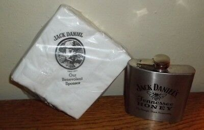 Jack Daniels Napkins (Sealed Package) & Flask Tennessee Honey Whiskey/Whisky