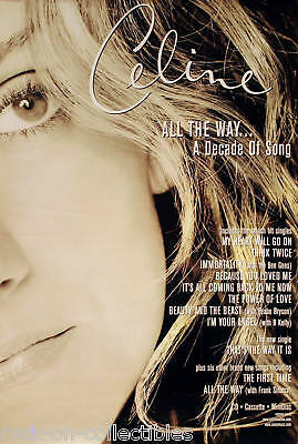 Celine Dion 1999 B&w All The Way Promo Poster Original