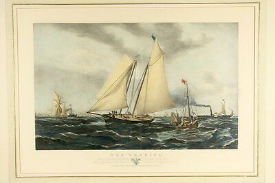 """Sir Oswald W. BRIERLEY (1817-1894): """"THE AMERICA"""" Yacht Cup 1851 Lithography"""