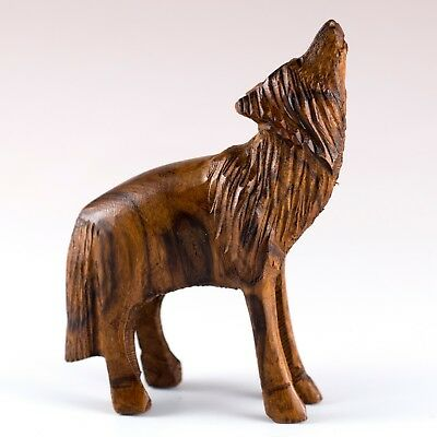 "Hand Carved Wood Wooden Ironwood Standing Wolf Howling Figurine 3.75"" High"