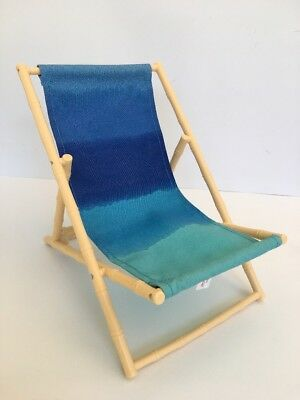 "* AMERICAN GIRL 18"" BEACH CHAIR Blue Ombre Deck Folding for Doll - EXCELLENT EUC"