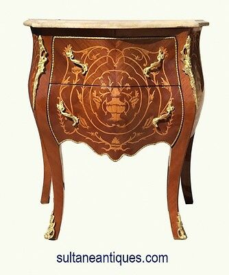 Elegant Louis XV style side table commode Marble top