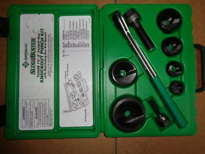 Greenlee Slug Buster Knock Out Punch Kit 7238Sb Racheting Wrench 1/2 2 Conduit