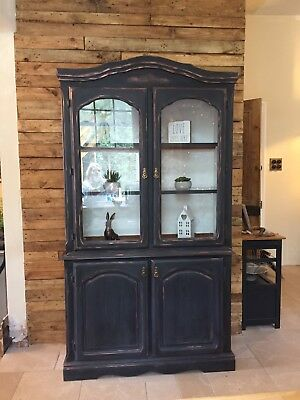 Handpainted Dark Blue Black French Style Armoire Dresser Glass Front Post Fr £30