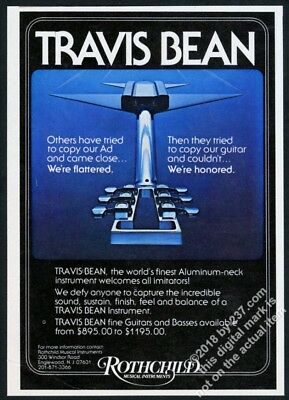 1977 Travis Bean aluminum neck guitar photo vintage print ad