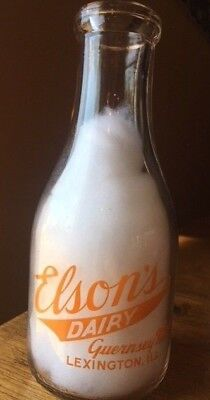 ELSON'S GUERNSEY DAIRY - Pyro Quart Milk Bottle LEXINGTON, ILLINOIS