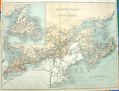 Old 1880 Map Engraving Print, NOVA SCOTIA NEWFOUNDLAND MARITIME PROVINCES CANADA