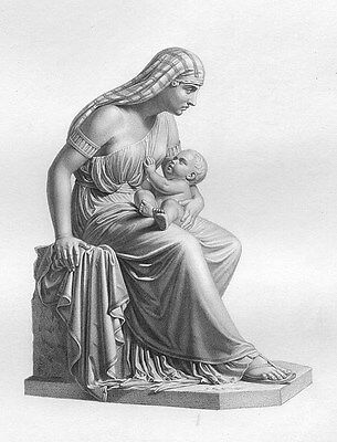 EGYPTIAN JOCHEBED MOTHER HOLDS BABY MOSES ~ 1873 BIBLE TORAH Art Print Engraving