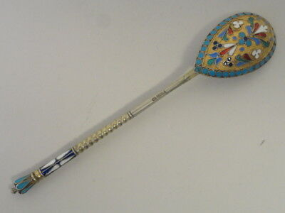 Antique Russian silver 84 cloisonne enamel spoon by Ivan Saltykov, 5.25 inches