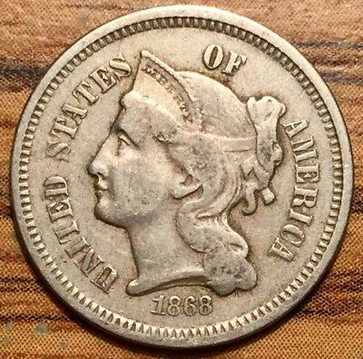 1868 United States 3 Cent Nickel Coin Condition Extremely Fine