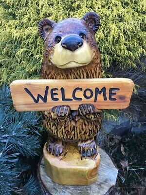 Chainsaw Carving Bear w/ Sign White Pine Wood Carving *FREE PERSONALIZED SIGN*