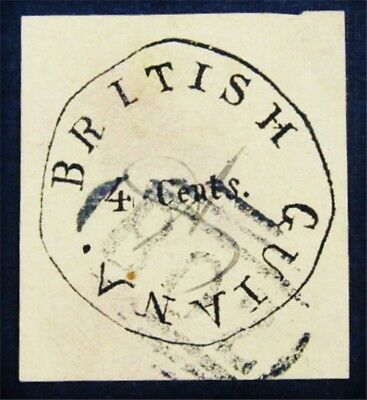 nystamps British Guiana Stamp # 3 Used Forgery? If Genuine would be $50000