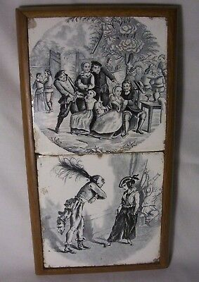 19th century Tiles from De Logne Belgium. Drinking scene & Theatre.