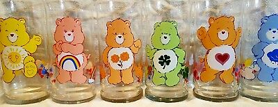 Rare Complete Mint Set Of Care Bear's Pizza Hut Glasses W/ Good Luck & Friend