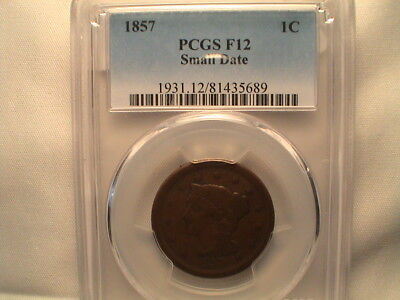 1857 Braided Hair Large Cent. Key Date  PCGS F12 Small Date