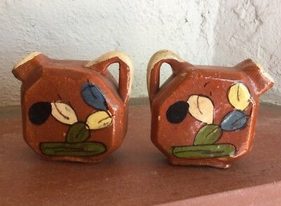 Vintage Old Mexico Salt Pepper Shakers Tlaquepaque Prickly Pear  Cactus Painted