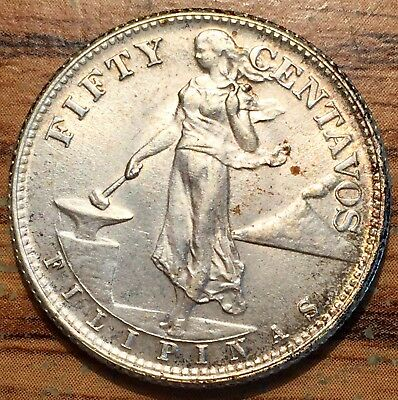 1944 Silver Philippines 50 Centavos US Administration Condition Uncirculated+