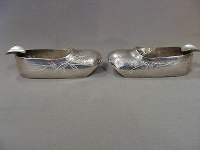 Pair Antique Chinese Export Sterling Silver Shoes