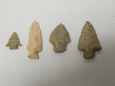 Lot Of 4 Antique Varied Points Arrowhead Collection Texas Collection  - Nr