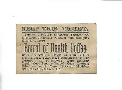 1880s Board Of Health Coffee Redemption Card For A Four Piece Crystal Tea Set