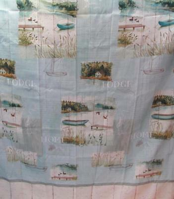 LAKE RETREAT Bath Fabric Shower Curtain Vacation Fishing Lodge in the Woods
