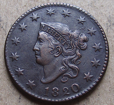 1820 Matron Coronet Head Large Cent, Large Date, N-13, Early American Copper AU
