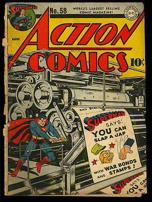 "Action Comics #58 (COVERS ONLY) Classic ""Slap A Jap"" WWII Cover Superman DC 1943"