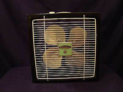 "Vintage Parklane Black & White Retro MCM 15"" Box Fan Metal ~Clean & Works Great~"