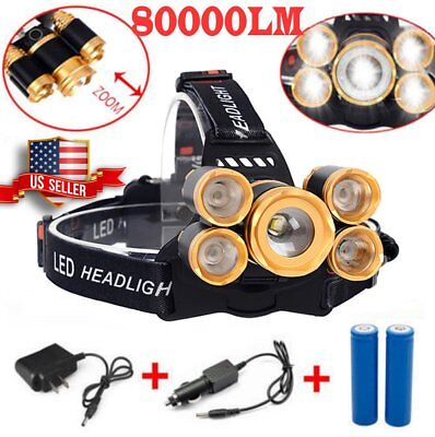 80000lm 5-led Zoom LED 18650 Headlamp Head Light Torch Flashlight Waterproof US