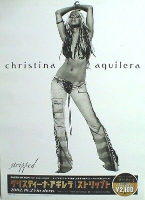 "CHRISTINA AGUILERA ""STRIPPED"" JAPAN PROMO POSTER FROM 2002 - Showing Belly!"