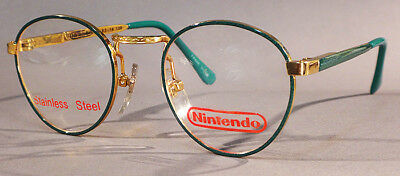 Authentic NINTENDO #3 Eyeglasses for Children -Metal -Green - Spring Hinges -NOS