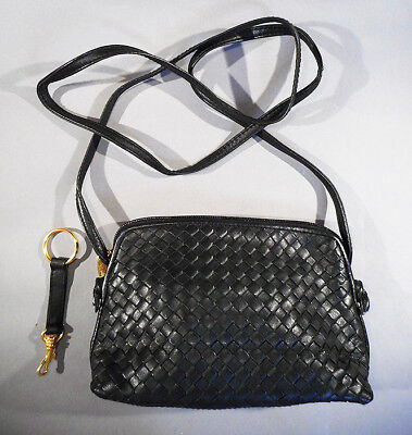 Vintage GANSON Black Basket Weave Woven LEATHER crossbody Bag Purse -Excel Cond!