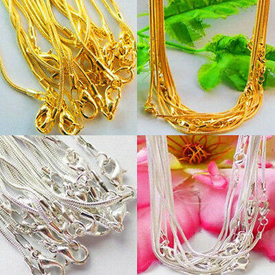 Hot 5/10pcs Silver Plated/Gold Plated 1.0mm Snake Chain Necklace Crafts DIY 43cm