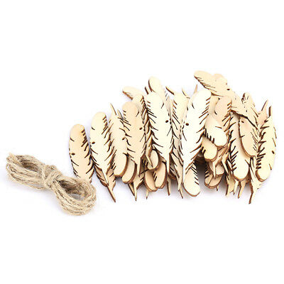 50x Wooden Laser Cut out Feather Shape Wood Pieces Slices Wedding Party Decor DY