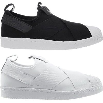 new products f5deb 2f8a7 Adidas Superstar SlipOn mens low-top sneakers black or white casual shoes  NEW