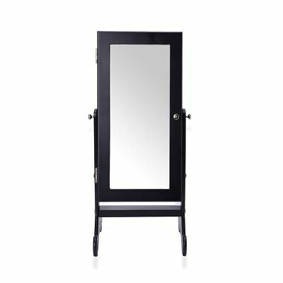 Black Colour MDF Standing Jewellery Cabinet with Mirror