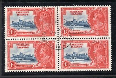 """Superb used block of four """"falkland one penny silver jubilee"""" postmarked 1935."""