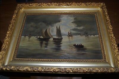 Great antique Maritime Nautical oil painting on canvas in ornate Victorian frame