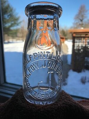 Vt Milk Bottle H. Edw. Johnson Brattleboro, Vt. Embossed Half Pint