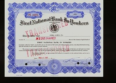 FIRST NATIONAL BANK IN YONKERS NEW YORK 1960s old stock certificate