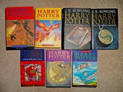 7 x HARRY POTTER FULL COMPLETE BOOKS SET COLLECTION INC FIRST EDITIONS READ ONCE