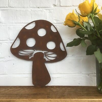 Rusty TOADSTOOL Sign Metal Shop Home Garden Ornament Decoration Mushroom herbs