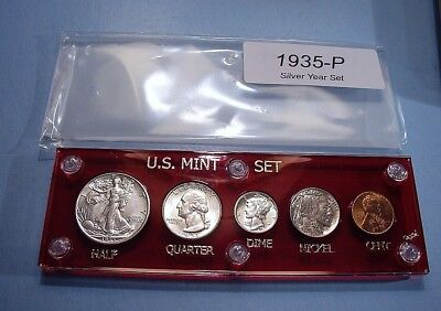 1935 SILVER SET of U.S. COINS TOTALLY BRILLIANT w/ EYE APPEAL LOOKS UNCIRCULATED