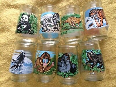 Welchs Endangered Species Collection WWF Fund Jelly Glasses Set Of 8 1995