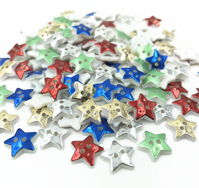 200X Mix Star 2 Hole Sewing Buttons scrapbooking Mix decoration craft 13mm