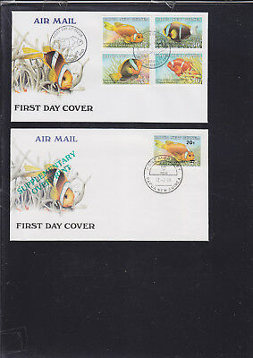 060412 Fische Fish ... Papua New Guinea 539-42 + 592 FDC First Day Cover`s