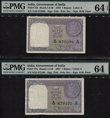 TT PK 75b 1957 INDIA 1 RUPEE PMG 64 EPQ SEQUENTIAL S/N 099,100 SET OF TWO NOTES!