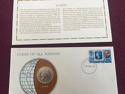 St.Kitts COINS OF ALL NATIONS (50-Cent-Münze) Stempel 10-FEB-1981 G.P.O St.Kitts