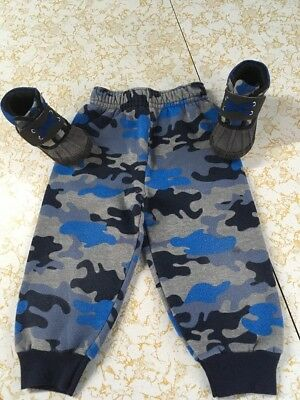 Boy's Camo Camoflage Pull On Pants - Toddler Size 2T & Camo Shoes EUC